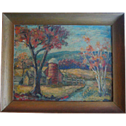 Mid-Century Autumn Landscape Oil Painting Signed Decamp