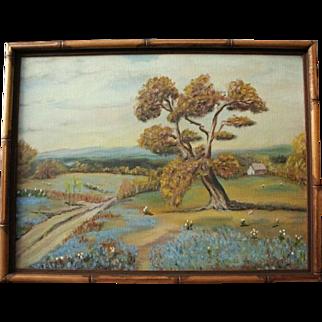 Vintage Texas Bluebonnet Original Oil Painting Landscape in Bamboo Frame