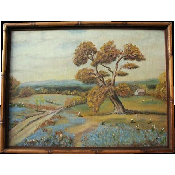 Texas Bluebonnets Original Oil Painting Landscape