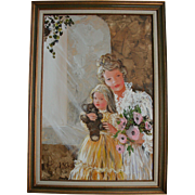 Sweet Mother Daughter & Teddy Bear Mid Century Oil Painting Portrait