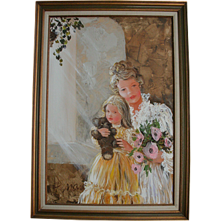 Large Mother Daughter & Teddy Bear Doll Mid Century Oil Painting Portrait