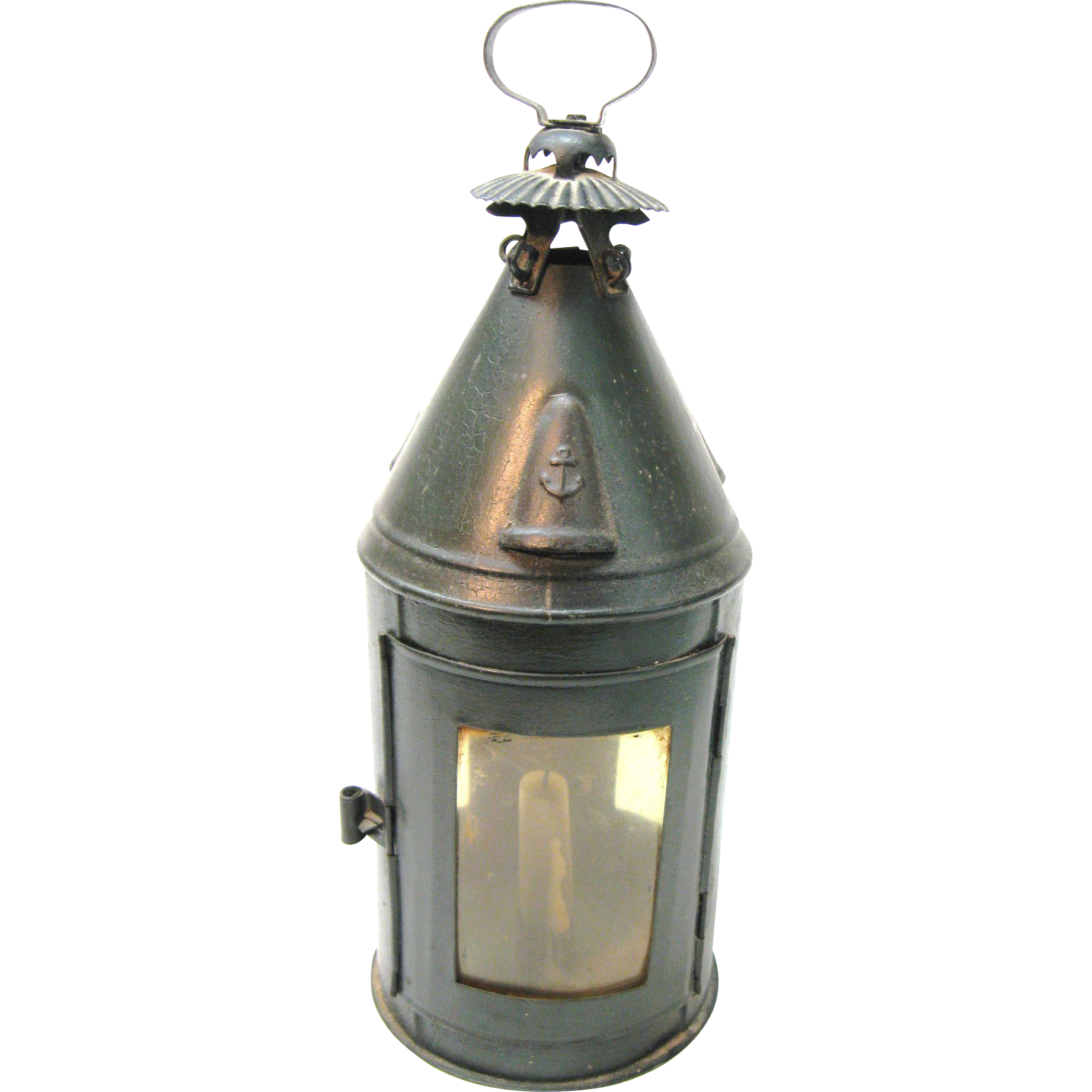 Sensational Rare Antique Tin Candle Lantern