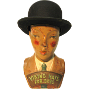 Vintage Advertising Paper Mache Boy And Hat