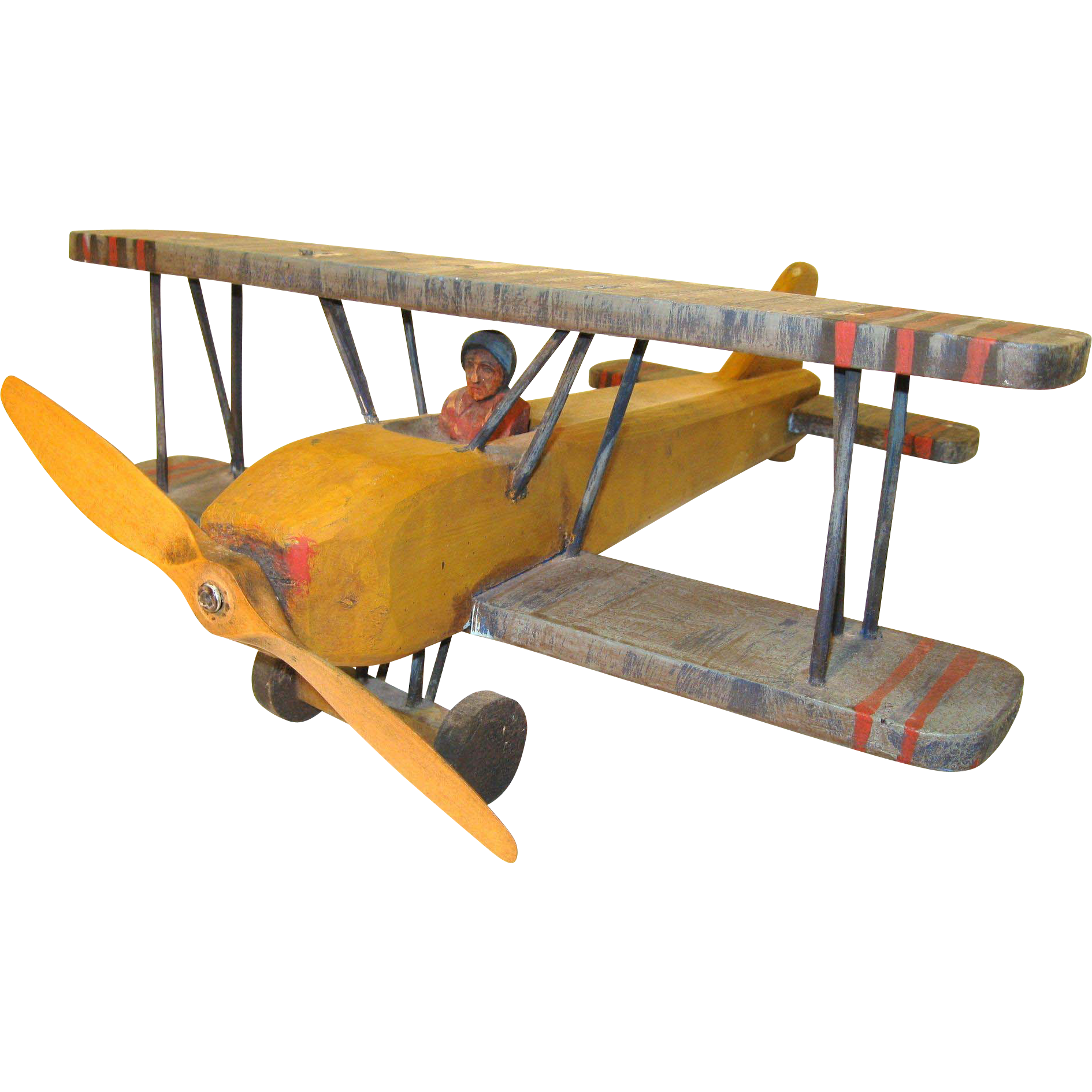Vintage Folk Art Wood Air Plane