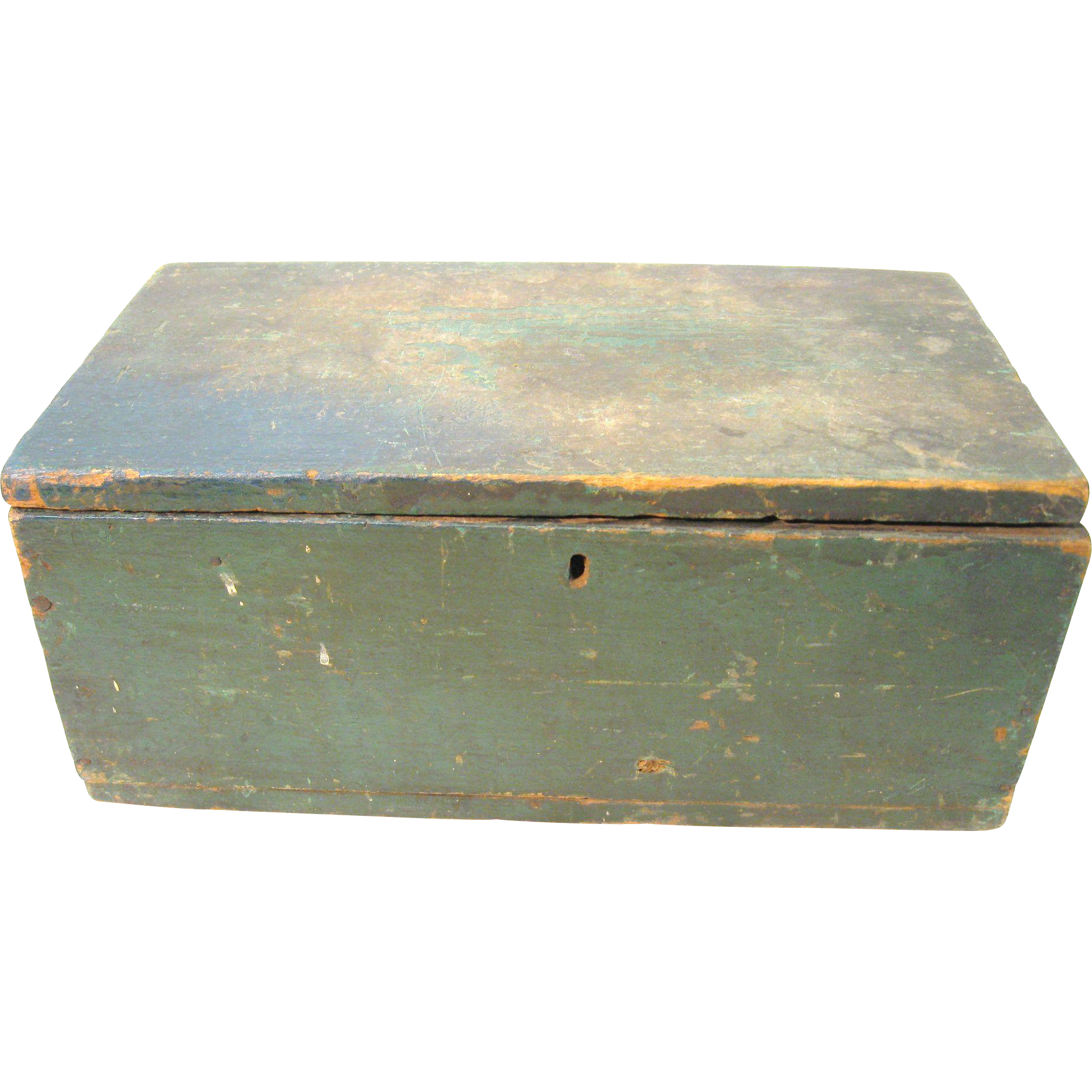 Vintage Old Pine Wood Document Candle Box With Paint