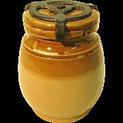 Vintage Doulton Lambeth Pottery Jar With Pewter Lid Lock
