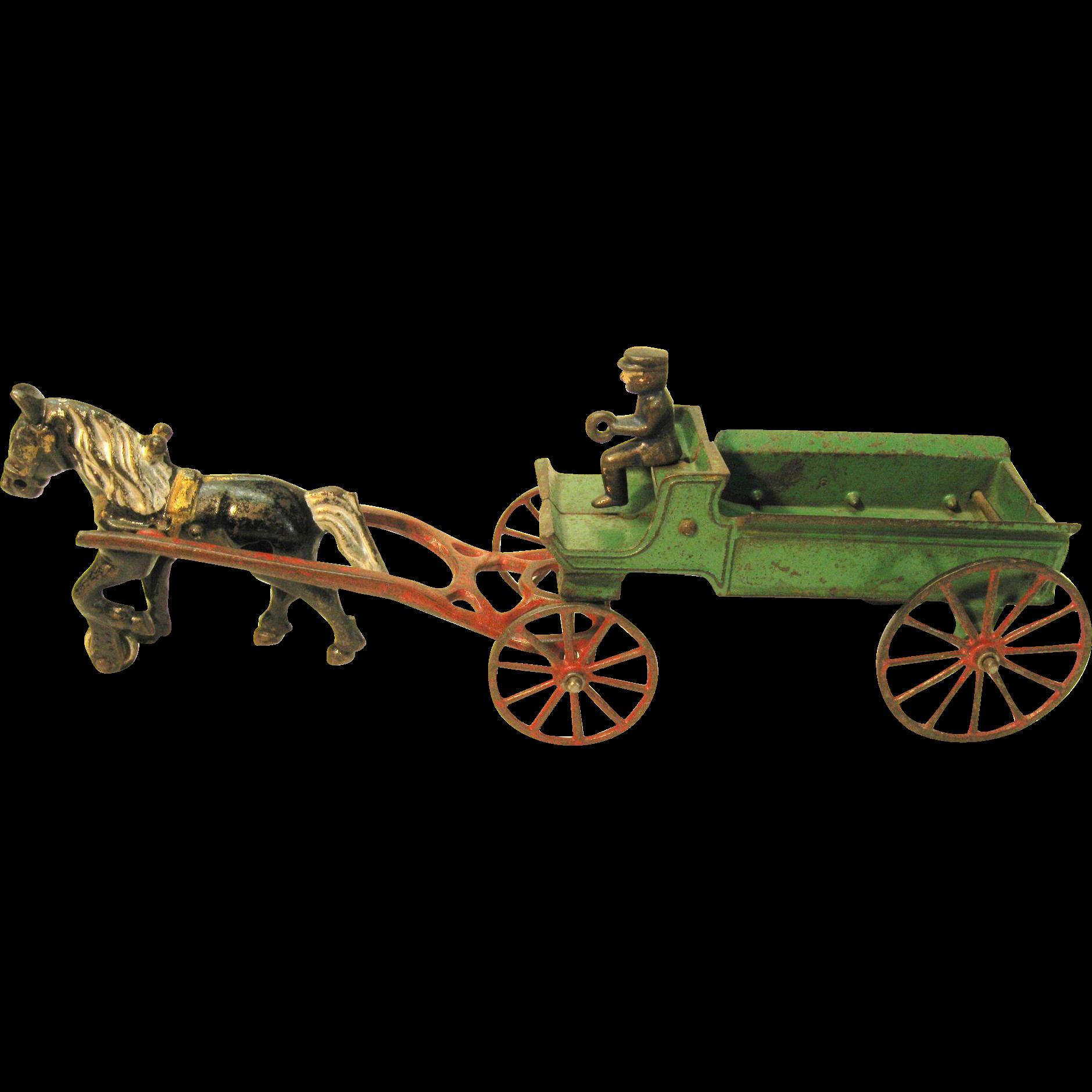 Vintage Kenton Toys Cast Iron Horse and Wagon