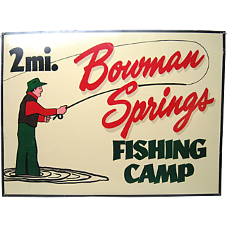 Vintage Tin Fishing Camp Sign
