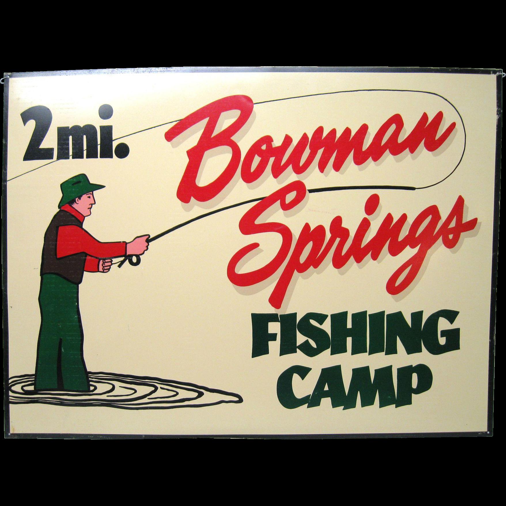 Vintage Tin Fishing Camp Sign