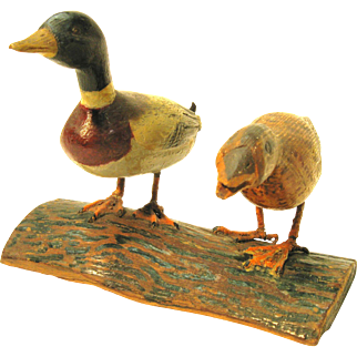 Wonderful Folk Art Pair of Ducks