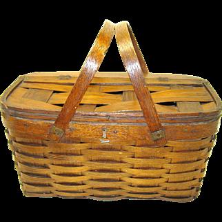 Nice Vintage Splint Oak Picnic Basket