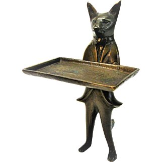 Vintage Brass Fox Business Card Holder