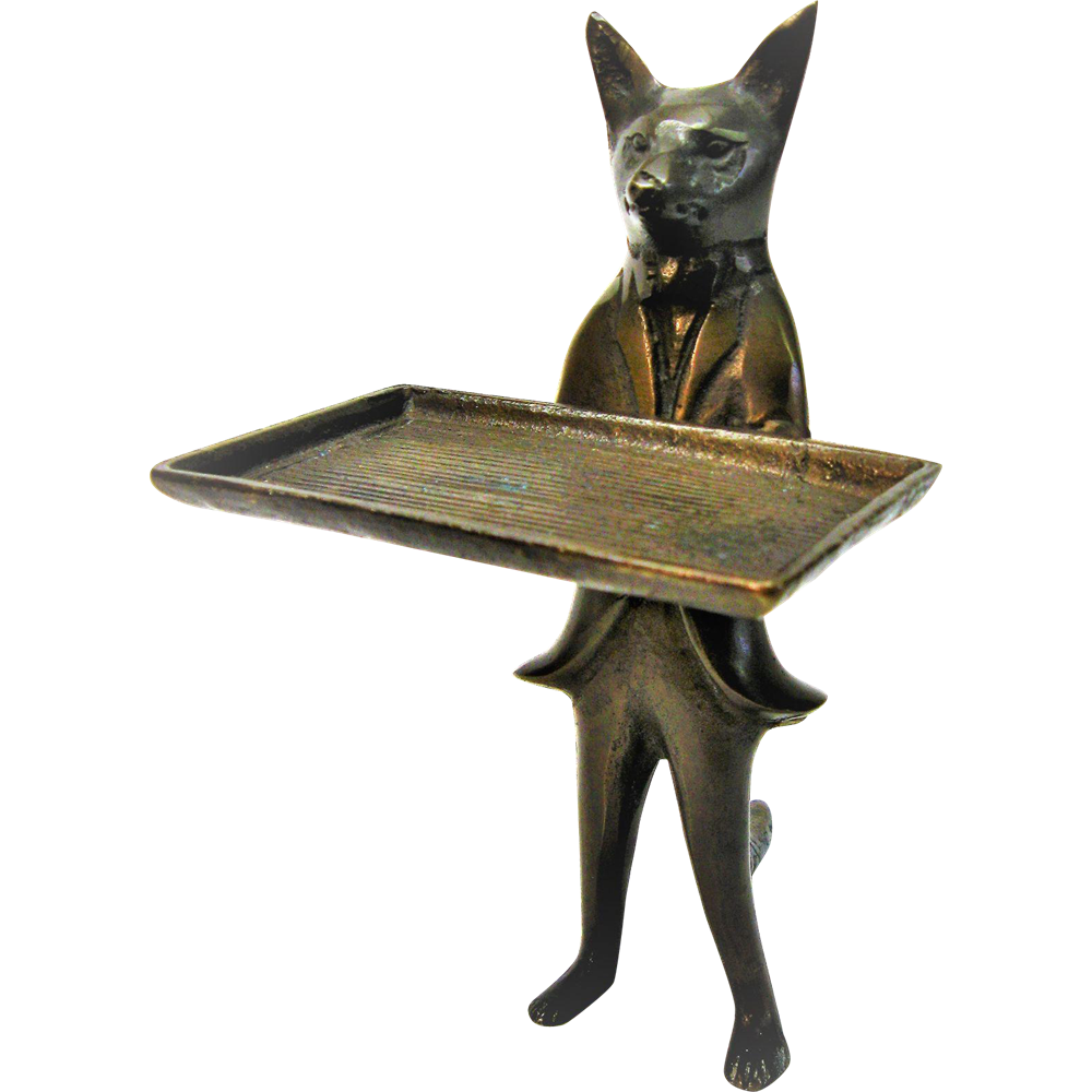 Vintage Brass Fox Business Card Holder SOLD on Ruby Lane