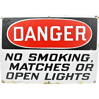 Vintage Large Porcelain Danger Sign