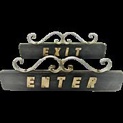 Nice vintage set of Enter / Exit signs