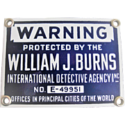 Vintage Burns Detective Agency Porcelain Sign
