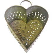 Punched Tin Heart Shaped Footed Cheese Strainer/Mold