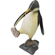 Hand Carved Folk Art Wood Penguin