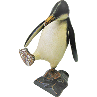 Hand Carved Folk Art Wood Penguin