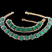 Coro Pegasus Green Necklace Bracelet Set