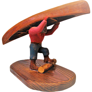 Primitive Folk Art Man and Canoe