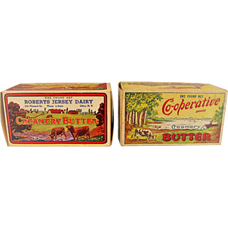 Two Vintage One Pound Butter Boxes