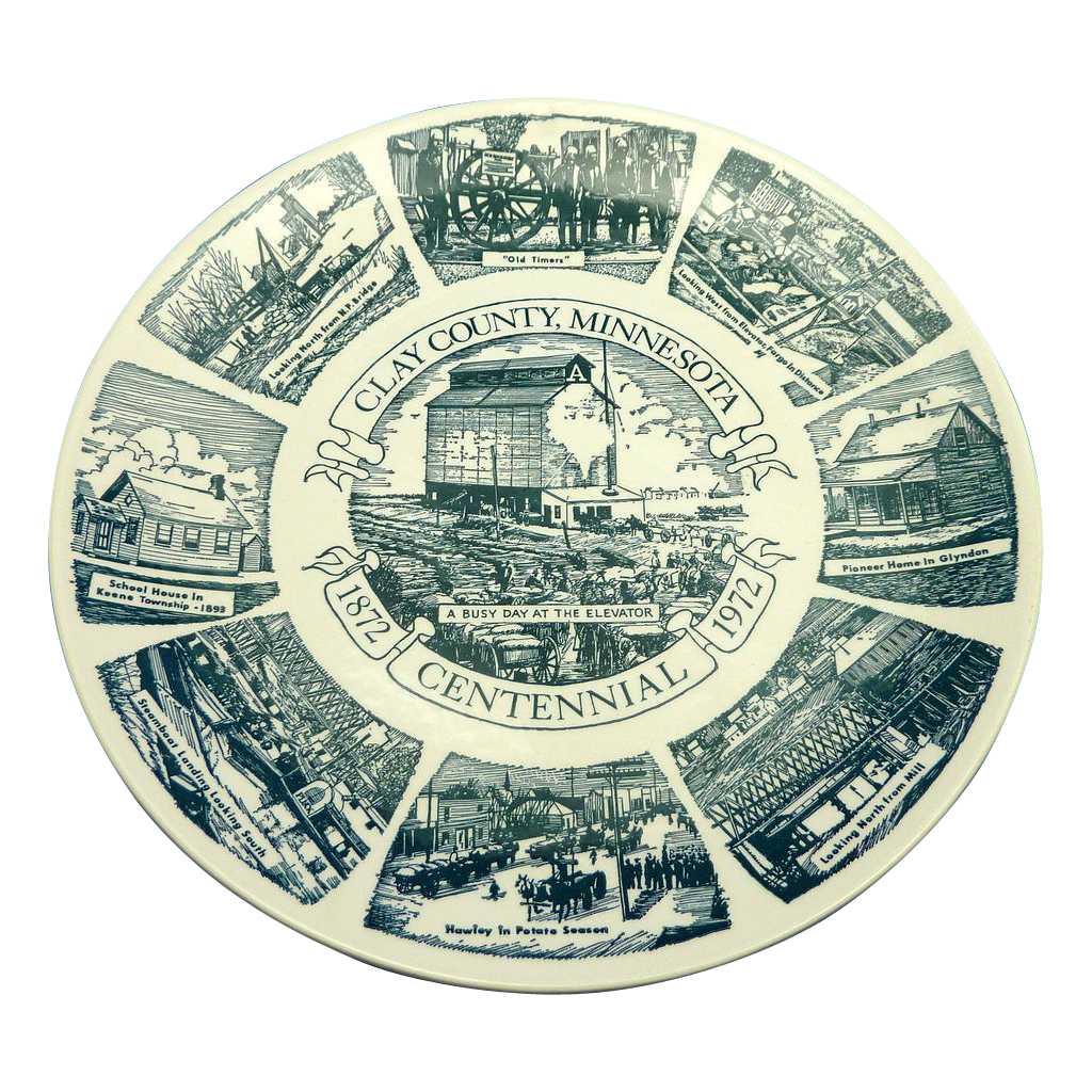 Clay County Minnesota Centennial Ceramic Plate