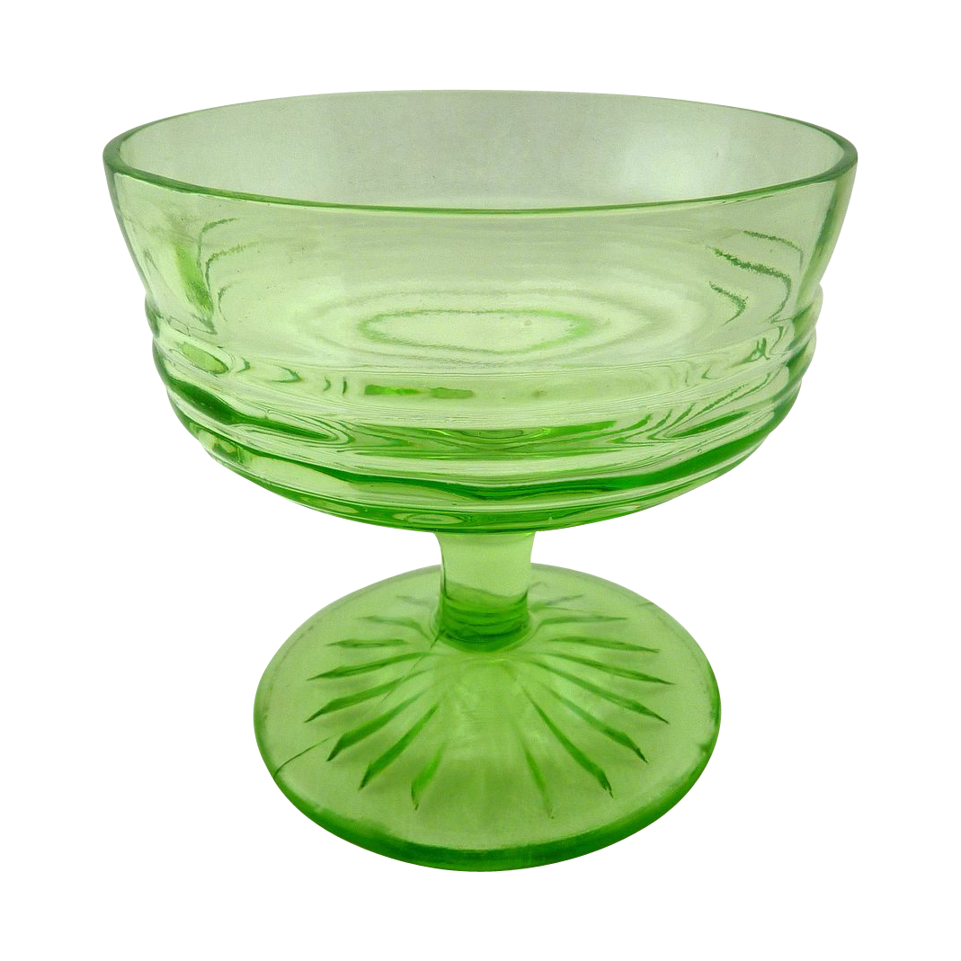 Vintage Green Footed Glass Sherbet Dessert Cups