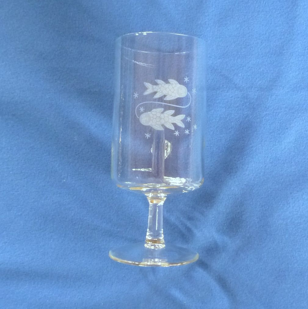 Etched Pisces Zodiac Drinking Glass