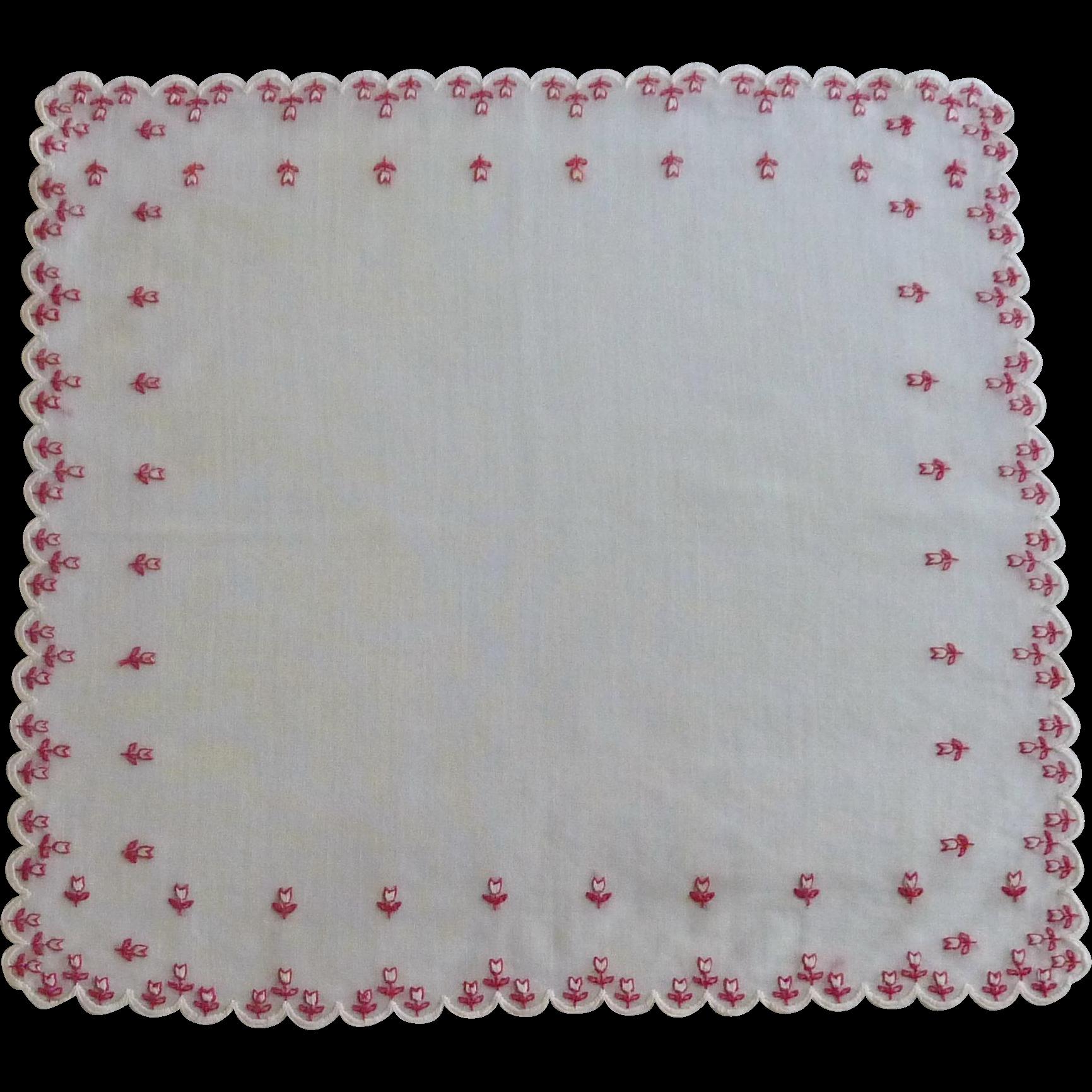 White Handkerchief with Tiny Red Tulip Handkerchief