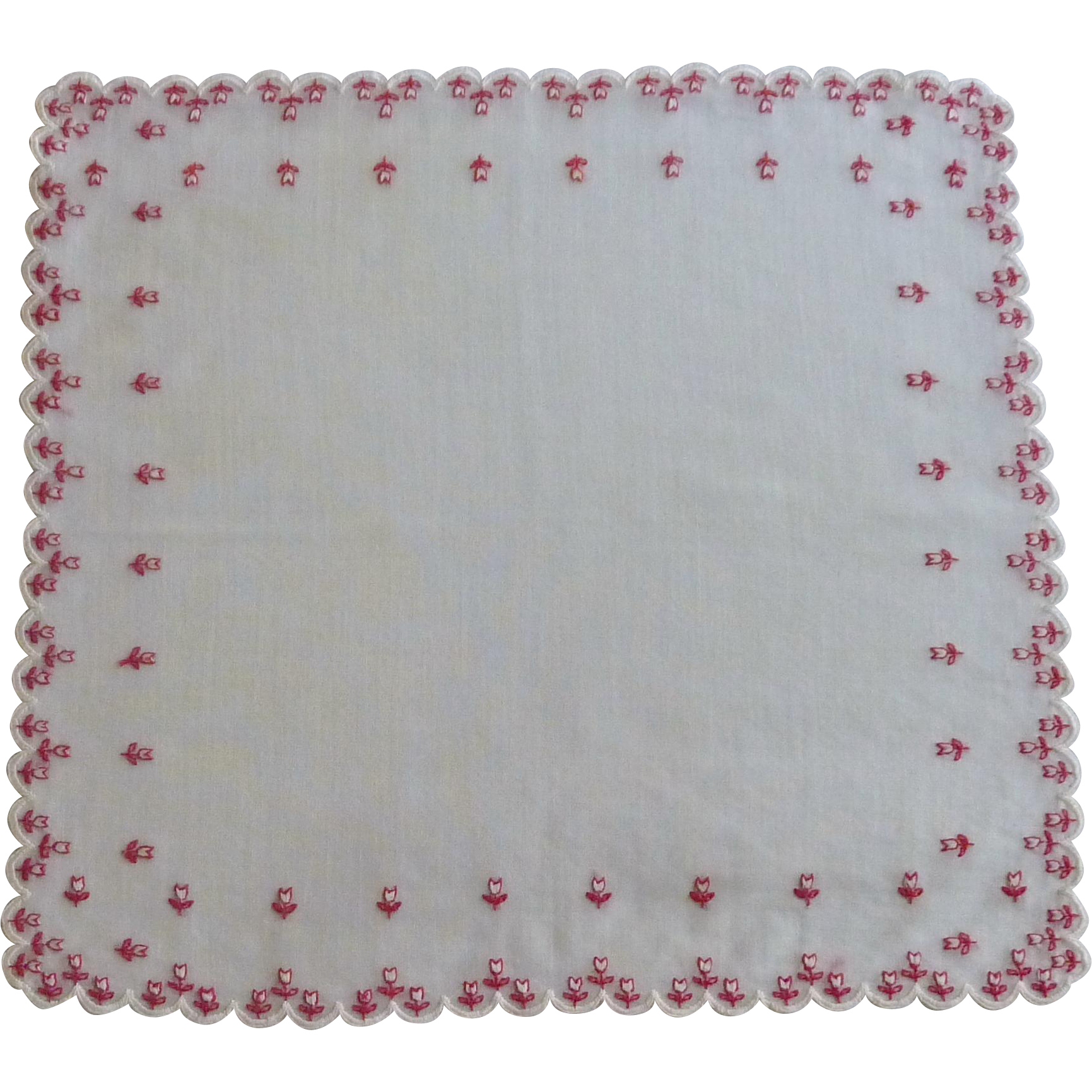 White Handkerchief with Tiny Red Tulip Handkerchief
