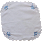 Blue Satin Flowers on Small White Scalloped Handkerchief