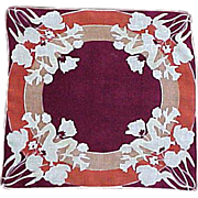 Floral Orange, Maroon & Tan Handkerchief Hanky