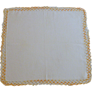 White Linen with Variegated Yellow Tatting Edge Handkerchief Hanky