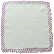 White Linen with Purple Lilac Tatted Edge Handkerchief Hanky