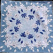 Blue & White Leaves Handkerchief Hanky Signed Don