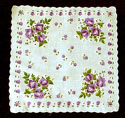 Purple Roses on White Handkerchief Hanky