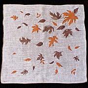 Signed  Colette Autumn Leaf Leaves Handkerchief