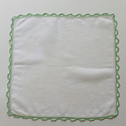 Green Tatted Edges on White Handkerchief Hanky