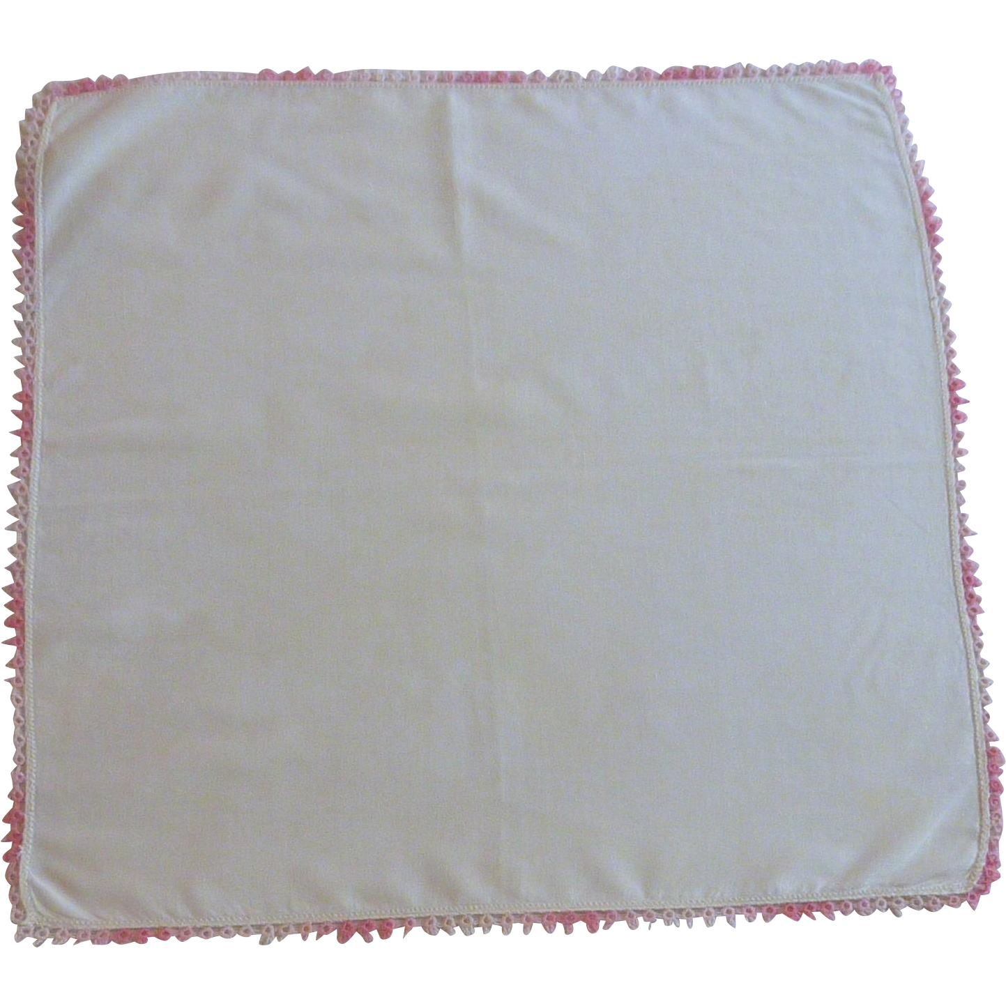 Pink  Tatted Edges on White Handkerchief Hanky