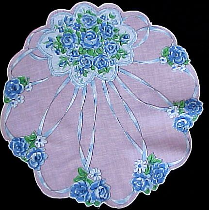 Round Floral Wedding Bouquet Handkerchief Hankie