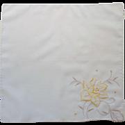 Yellow Flower on White Handkerchief Hanky