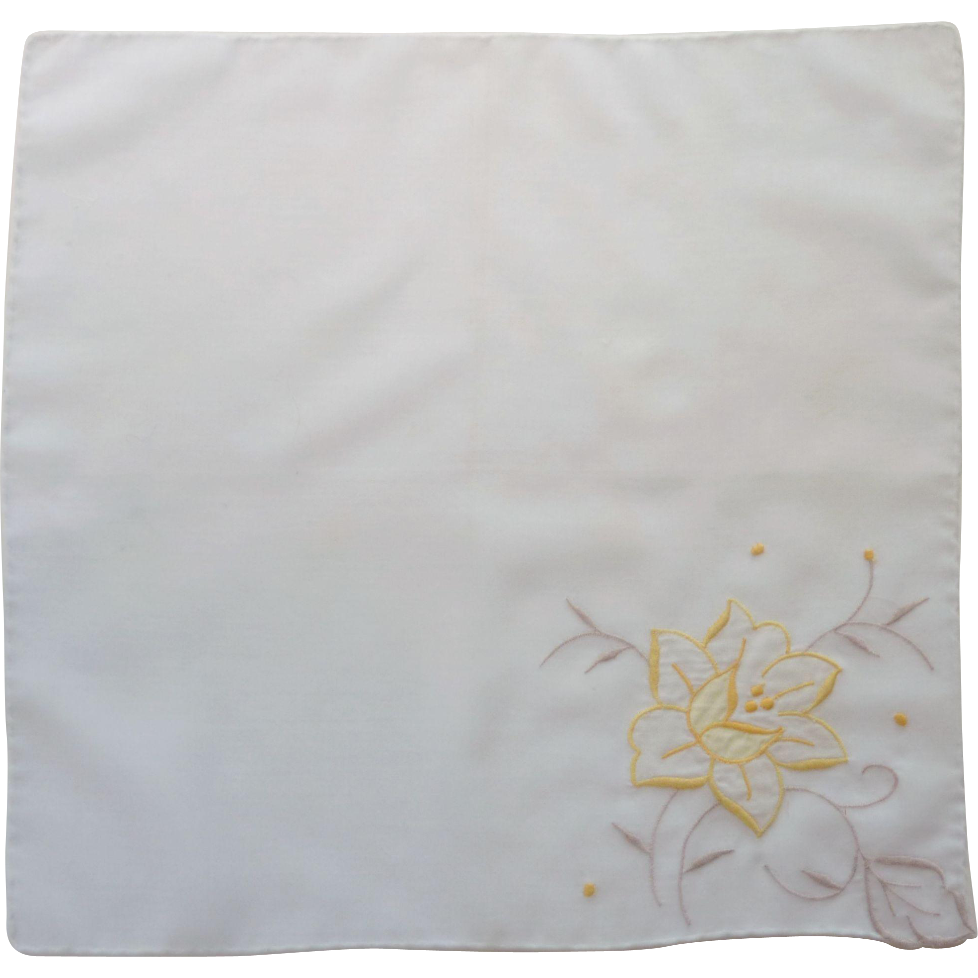Yellow Flower on White Handkerchief Hanky