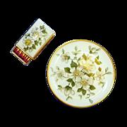 Beautiful Dogwood White Flower Ashtray and Matchbox Cover Set
