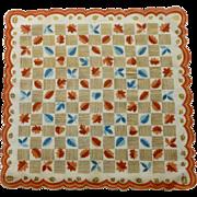 Geometric Autumn Leaves Gold, Blue and Rust Handkerchief Hanky