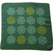 Faith Austin Signed Green Symmetric Snow Flake Handkerchief Hanky