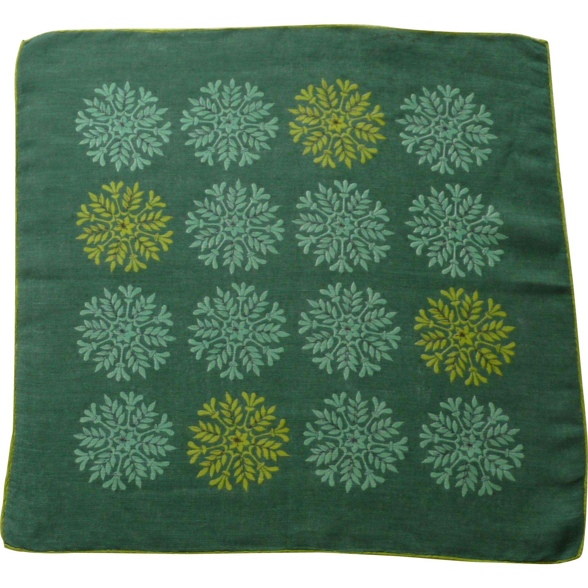 Faith Austin Signed Green Symmetric Snow Flake Handkerchief Hanky