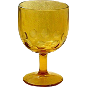 Harvest Gold Large Thumb Print Design Stem Glass Goblet