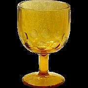 Harvest Gold Large Thumb Print Design Stem Glass Goblet