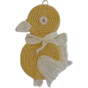 Vintage Crochet Yellow Bird Pot Holder